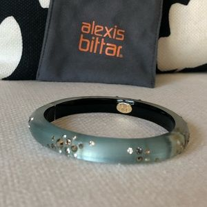 Alexis Bittar mint lucite Swarovski crystal bangle